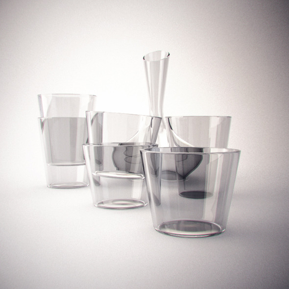 3DOcean Realistic Decanter glass set 2937226