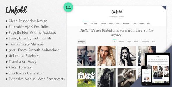 Unfold - Tema Responsive de Portfolio para WordPress