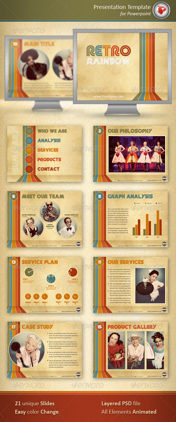 Retro Rainbow Powerpoint Template - Powerpoint Templates Presentation Templates