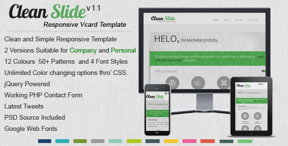 ThemeForest Clean Slide Responsive HTML Template Vcard 2836238