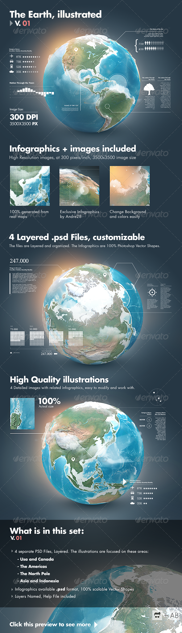 Earth Illustrated, 3D World and Infographics - V1  - Infographics