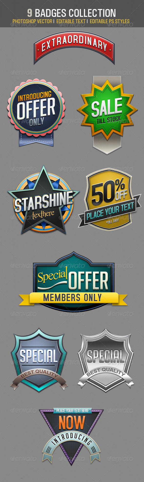 GraphicRiver 9 Badges Collections 2939458