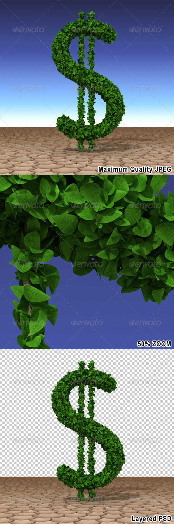 Dollar Tree Growing in the Desert - Text 3D Renders