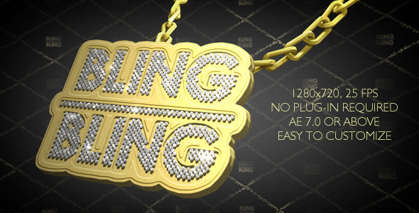 After Effects Project - VideoHive Hip-Hop Style Bling-Bling 3D Pendant on Chain 2924254