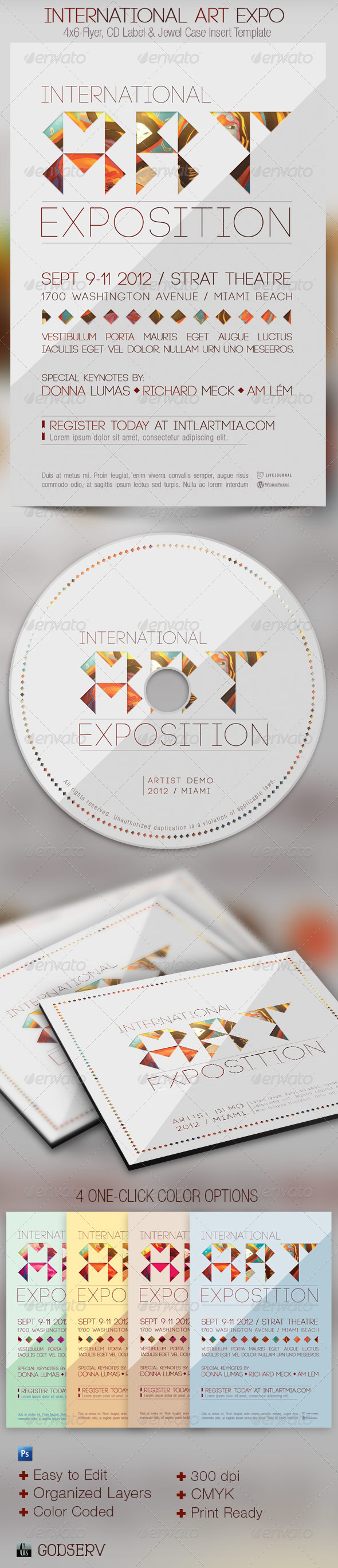 International Art Expo Flyer and CD Template - Events Flyers