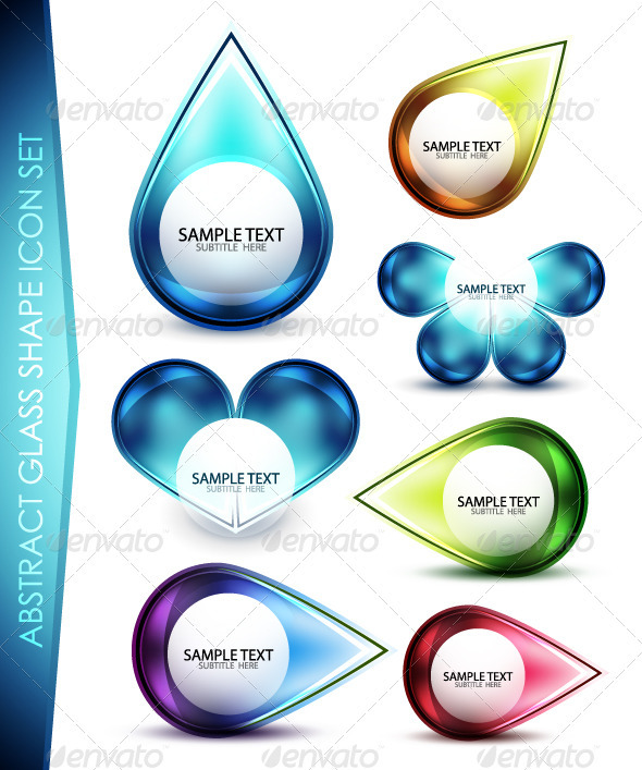 Vector Abstract Glass Icons - Decorative Symbols Decorative