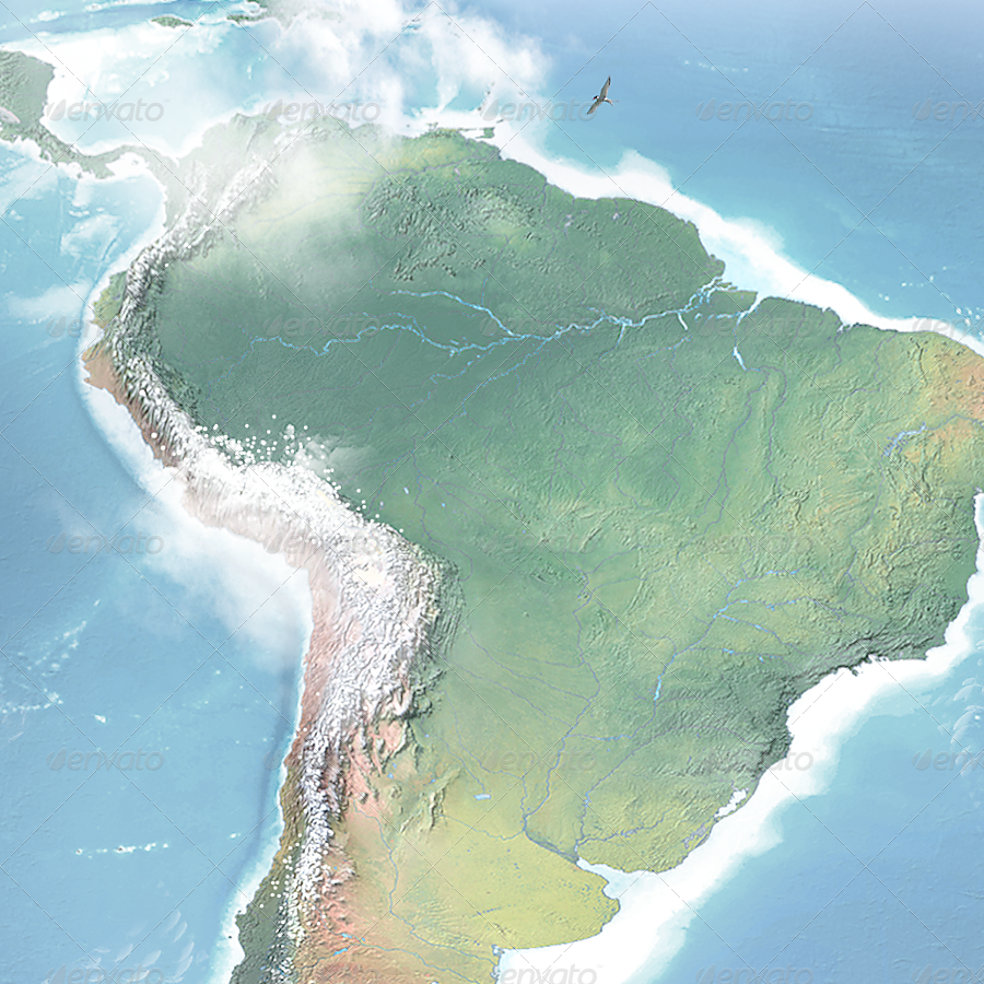 Realistic South America 3D Map - Layered