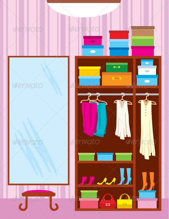 Wardrobe room. Furniture - Objects Vectors