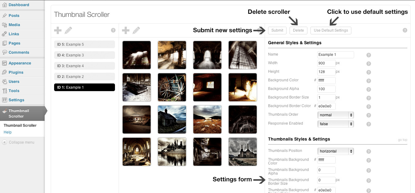 Thumbnail Scroller (WordPress Plugin) - Admin - Edit Settings