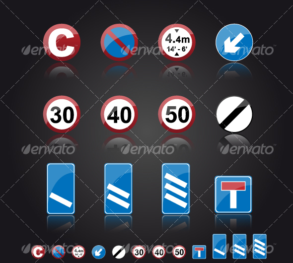 UK Road Signs: Information - Man-made objects Objects