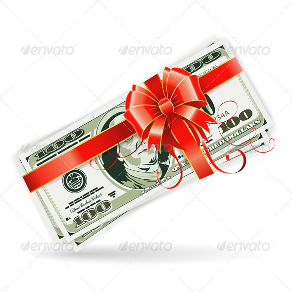 Dollar Bills with Ribbon and Bow - Concepts Business