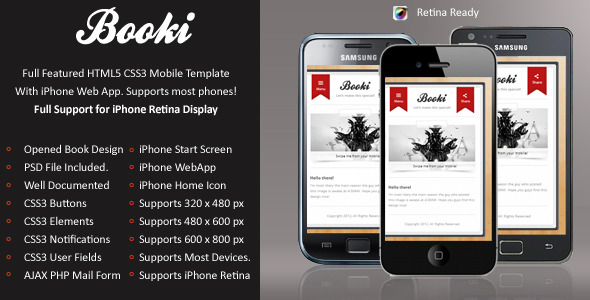 Booki Mobile Retina | HTML5 & CSS3 And iWebApp