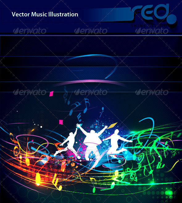 Dance Party Vector Template Design_6 - People Characters