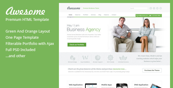 ThemeForest Awesome One Page Business Template 2941947