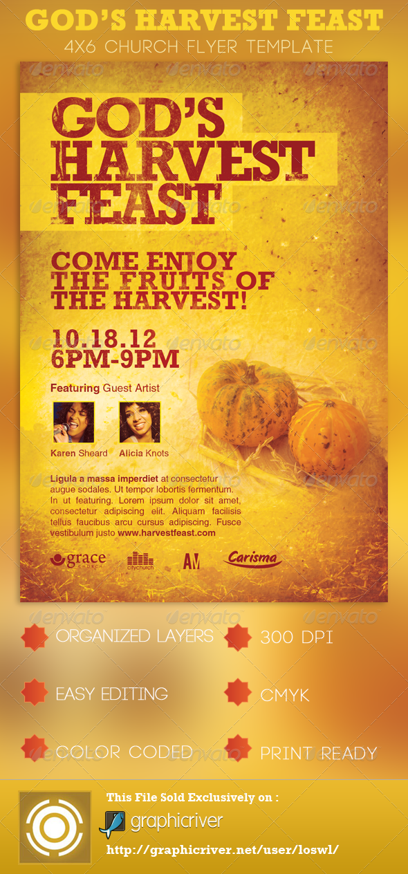 God's Harvest Feast Church Flyer Template - Church Flyers
