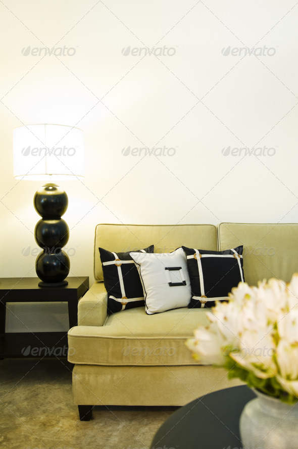 Contemporary sofa seating area - Stock Photo - Images
