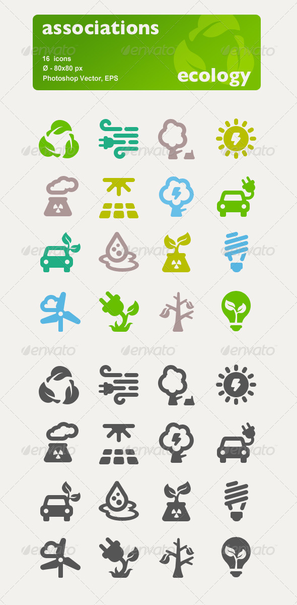 Associations. 16 Ecology Vector Icons. - Seasonal Icons