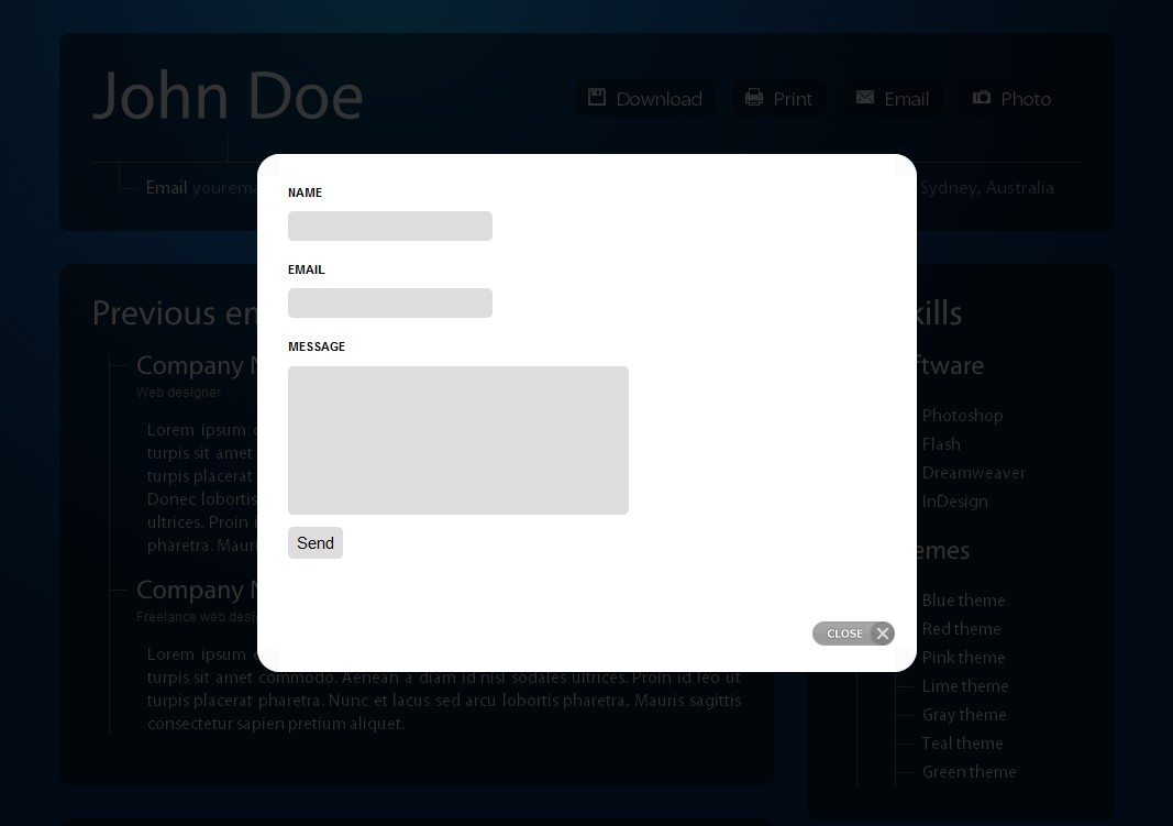 Professional Online Resume/CV - This is the contact form that pops up in a lightbox, it has validation and everything!