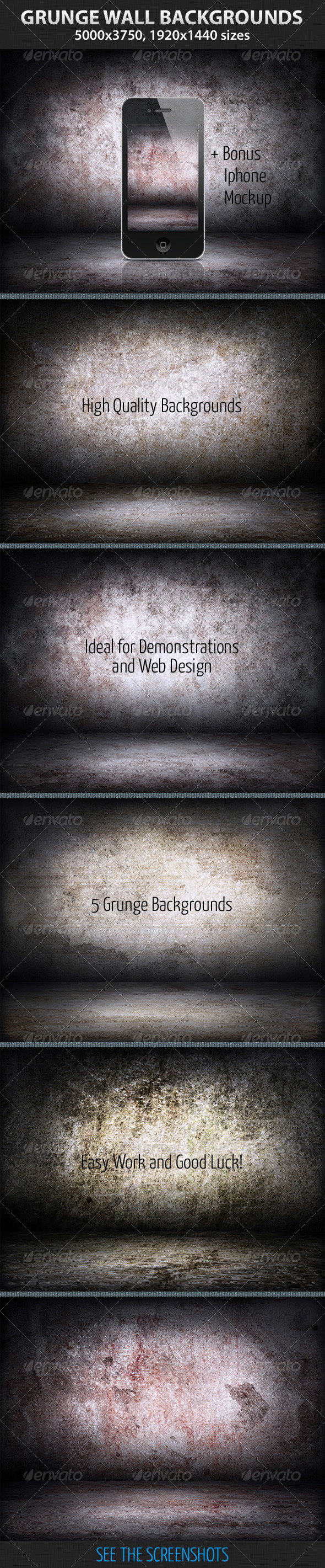 GraphicRiver 5 Grunge Wall Backgrounds 2973959
