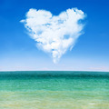 sea waves and blue sky with cloudy heart - PhotoDune Item for Sale