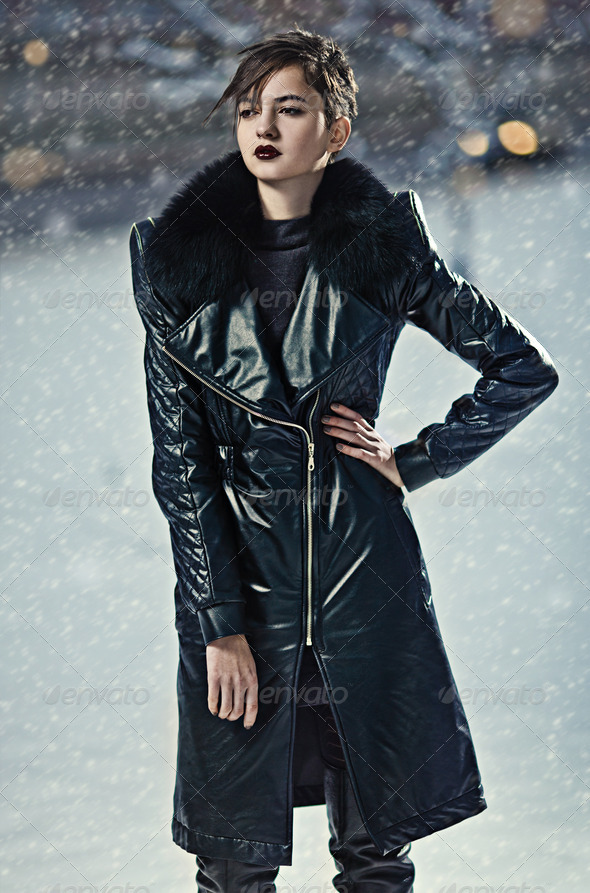 Stylish Brunette Woman In Leather Coat - Stock Photo - Images