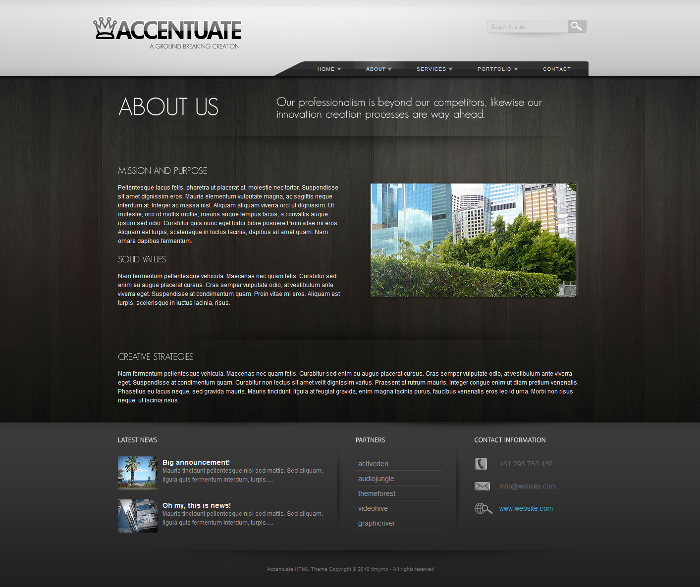 Accentuate Premium HTML Theme / Business Portfolio - About - Accentuate theme also has another version of the about page which has a side section, please check out the live preview.