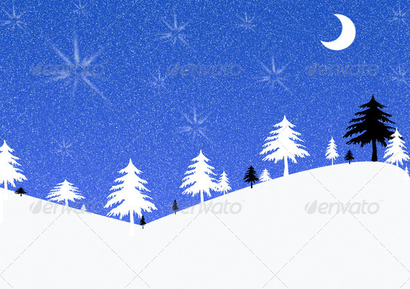 Winter illustration in blue, black and white - Stock Photo - Images