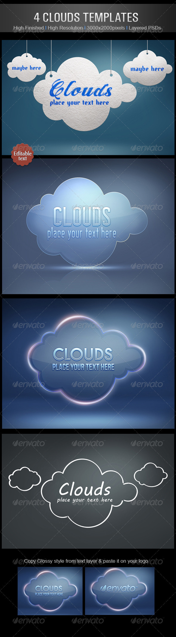 GraphicRiver 4 Clouds Templates 2977636