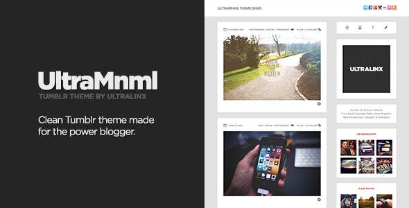 UltraMnml - Clean &amp; Responsive Tumblr Theme