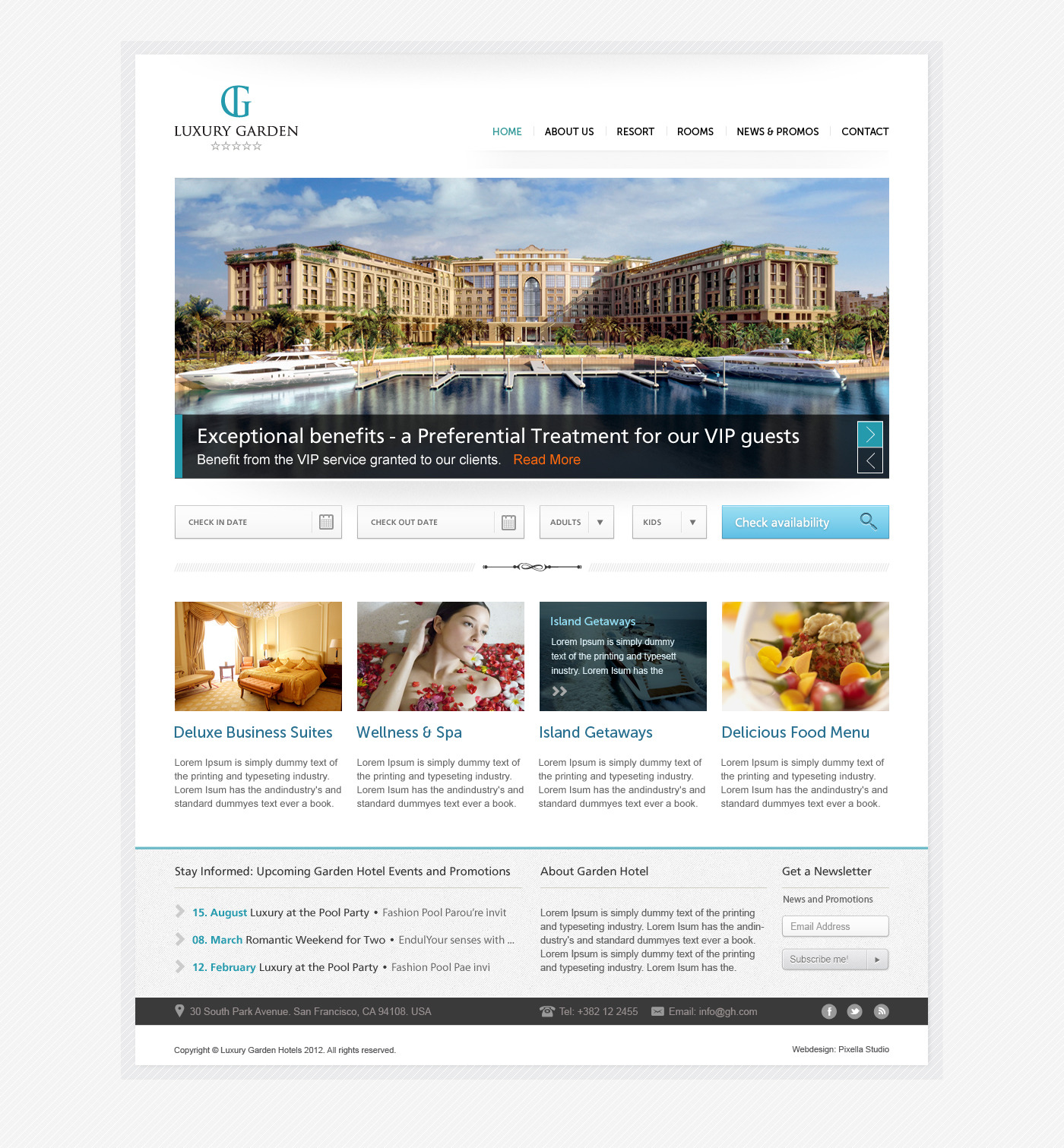 Luxury Garden Hotel Website PSD Template
