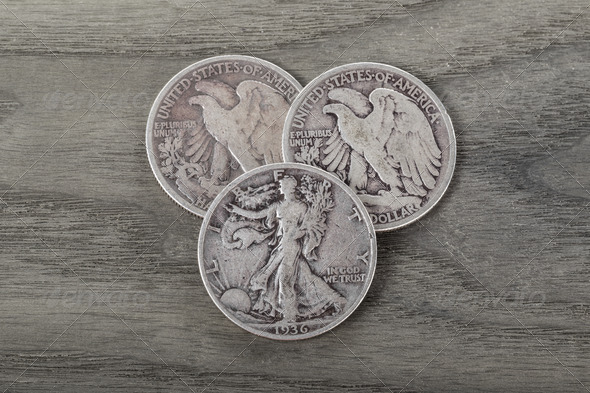 Silver Coins on Old Wood - Stock Photo - Images