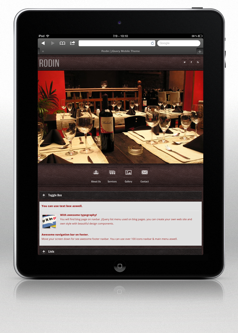 Rodin jQuery Mobile Web Template