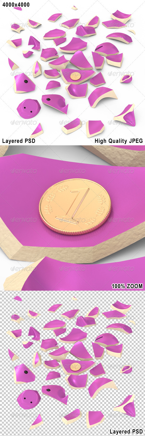 Broken Piggybank with One Small Coin - Objects 3D Renders