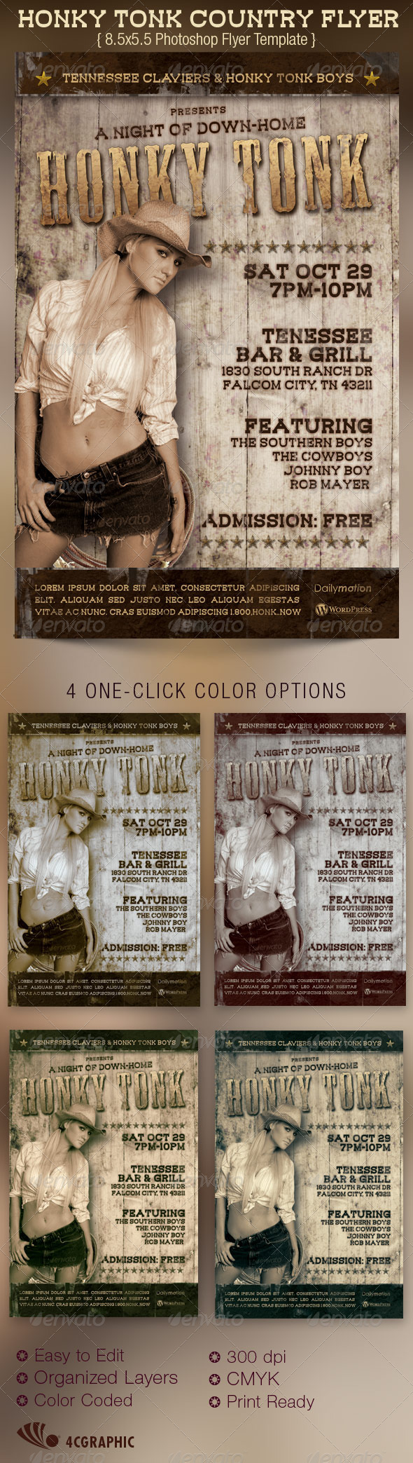 GraphicRiver Honky Tonk Country Flyer Template 2963337