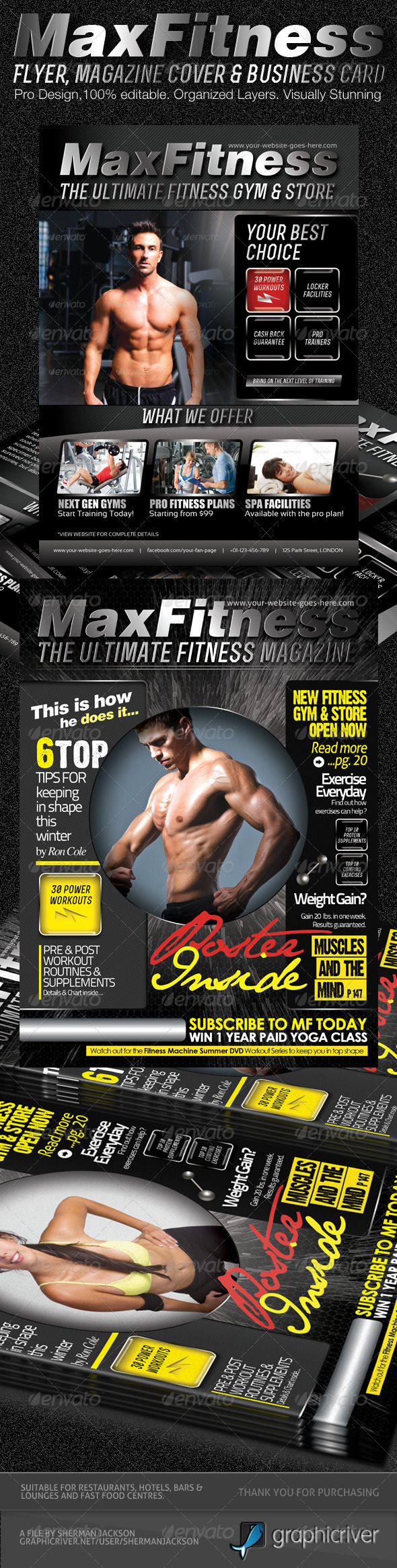 MaX Fitness Flyer &amp; Magazine Cover Template - Commerce Flyers