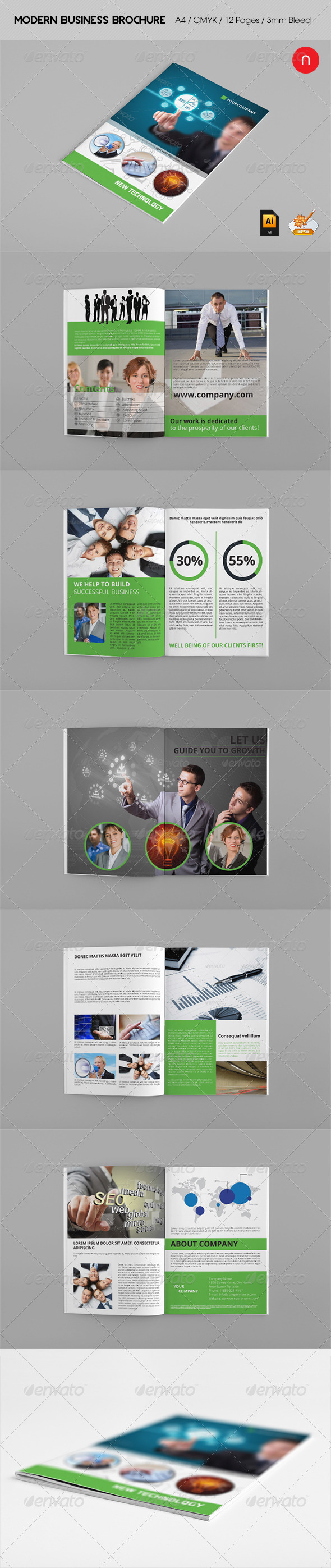 Business Brochure - New Technology - Brochures Print Templates