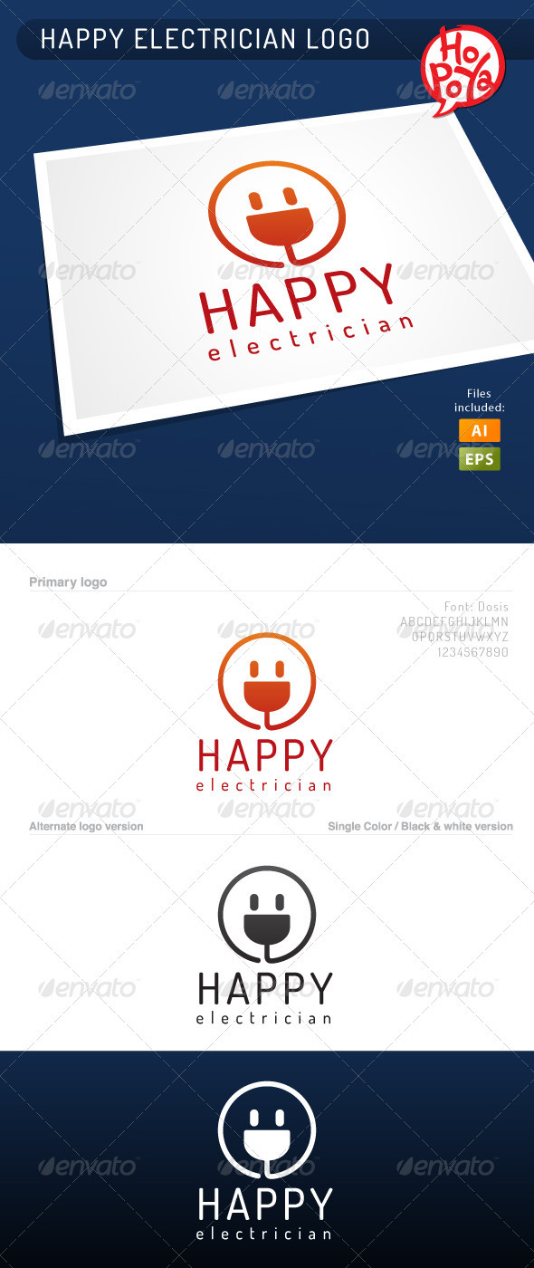 Happy Electrician Logo - Symbols Logo Templates