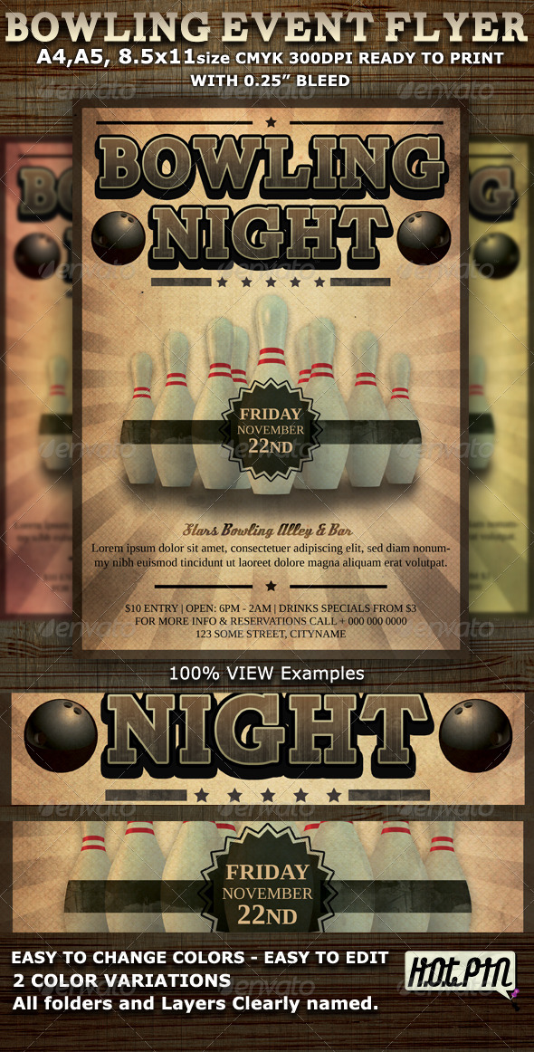 Bowling Event Party Flyer Template - Events Flyers