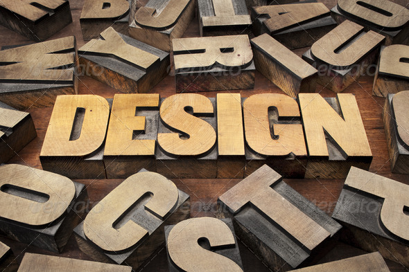 design concept in wood type - Stock Photo - Images