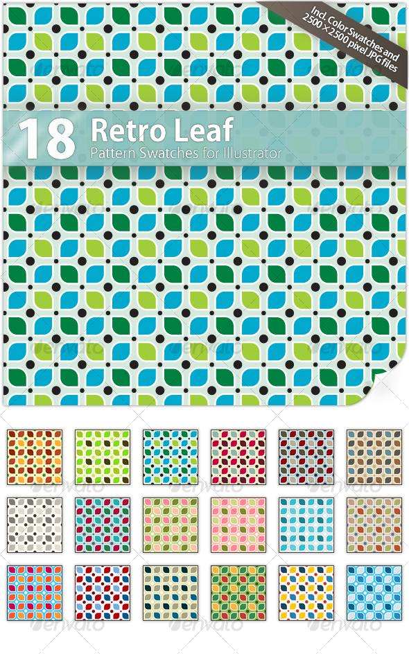 GraphicRiver 18 Retro Leaf Pattern Swatches 55017