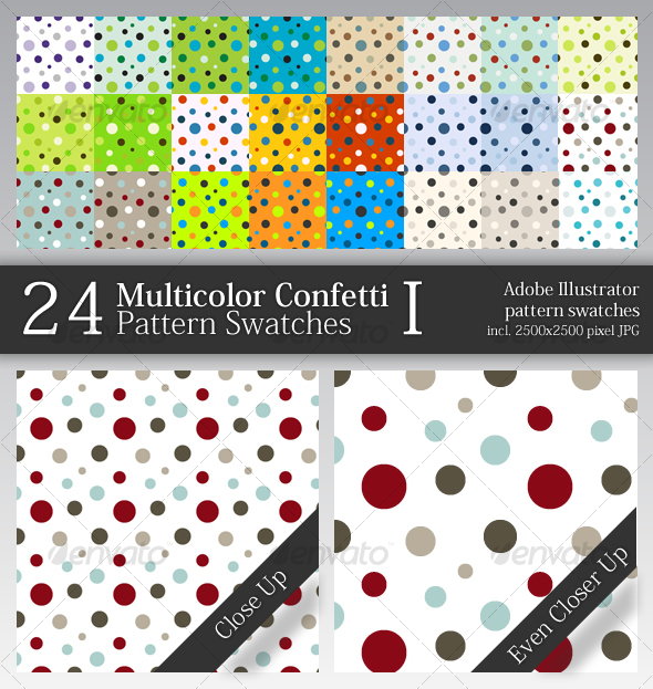 24 Multicolor Confetti Pattern Swatches I - Abstract Textures / Fills / Patterns