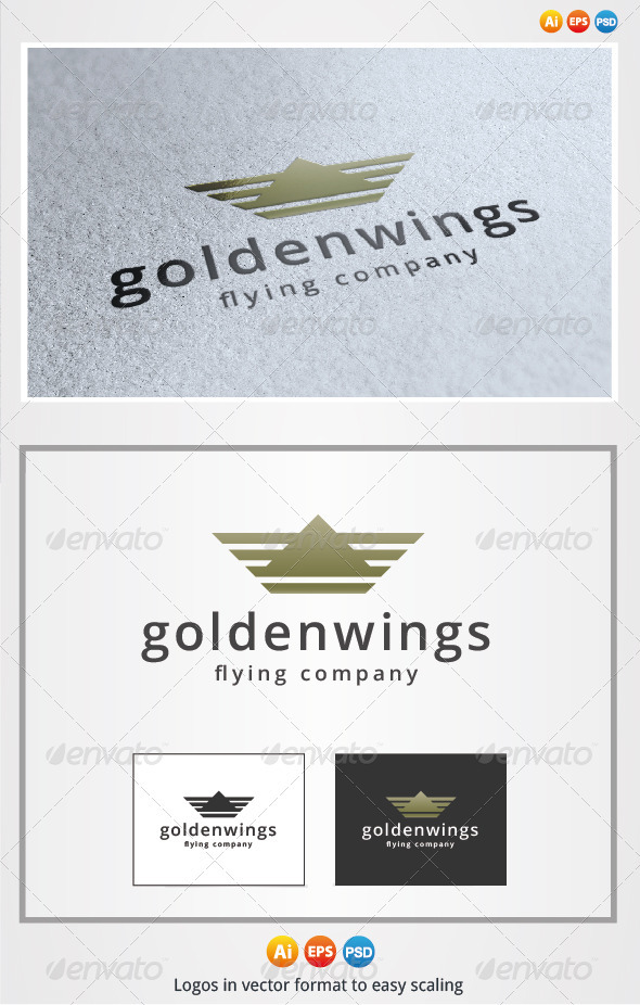 Golden Wings Logo - Symbols Logo Templates