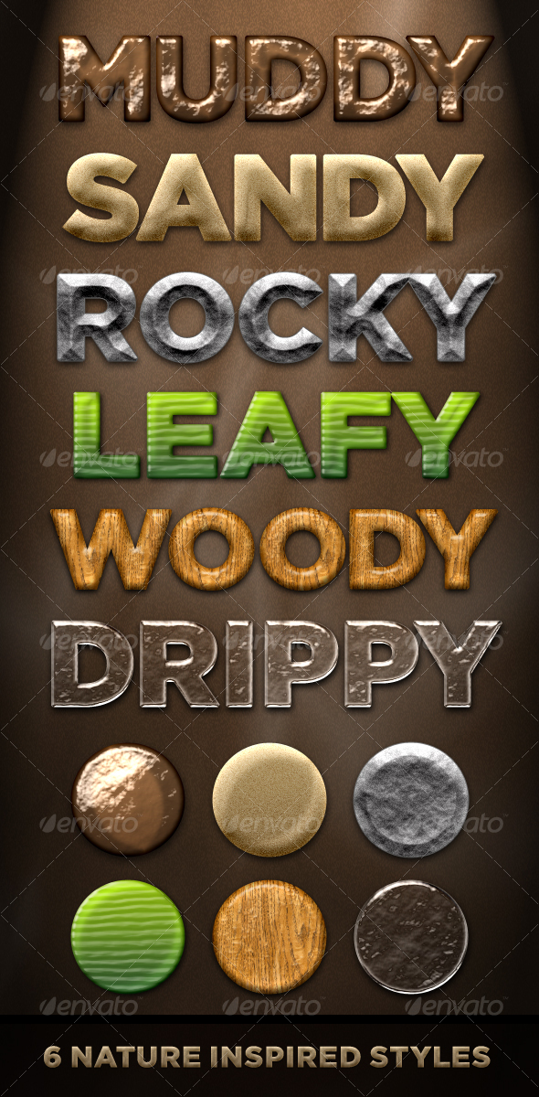6 Nature Styles - Dirt, Stone, Wood, Plant, Water - Text Effects Styles
