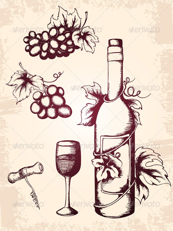 Vintage Wine Icons - Food Objects