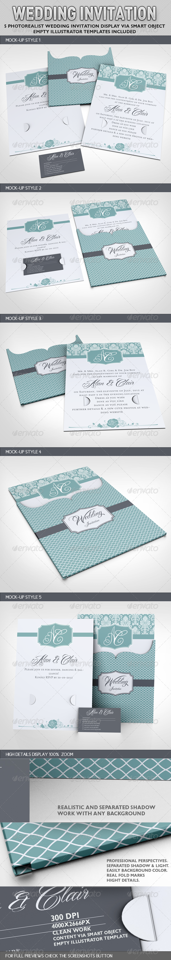 Wedding Invitation Jacket Mock-up - Miscellaneous Print