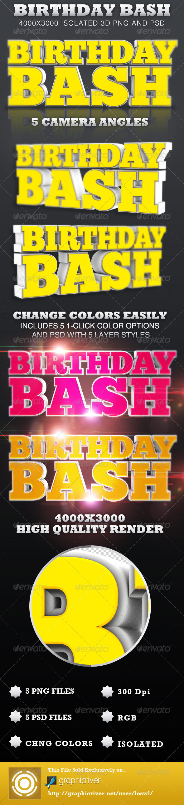 Birthday Bash Isolated 3D Text Objects - Text 3D Renders