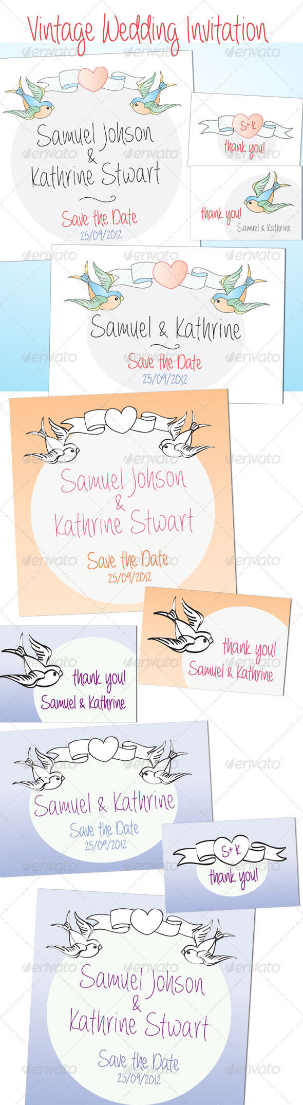 Vintage Wedding Invitation and Cards - Cards & Invites Print Templates