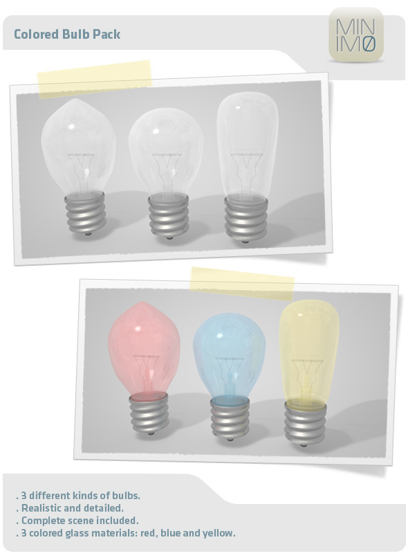 Colored Bulb Pack - 3DOcean Item for Sale