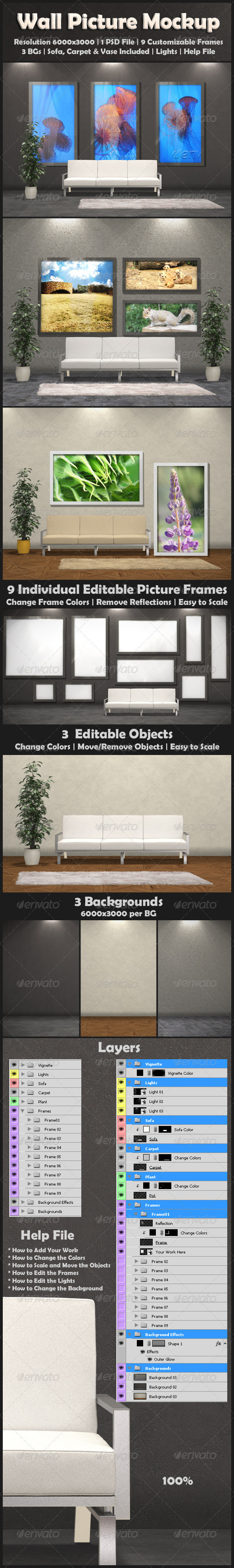 GraphicRiver Wall Picture Mock-Up 3005418