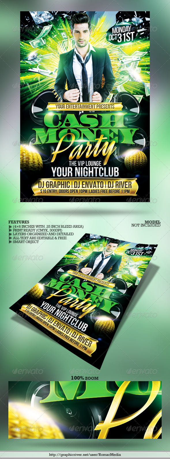 club sessions l cash money party flyer graphicriver. Black Bedroom Furniture Sets. Home Design Ideas